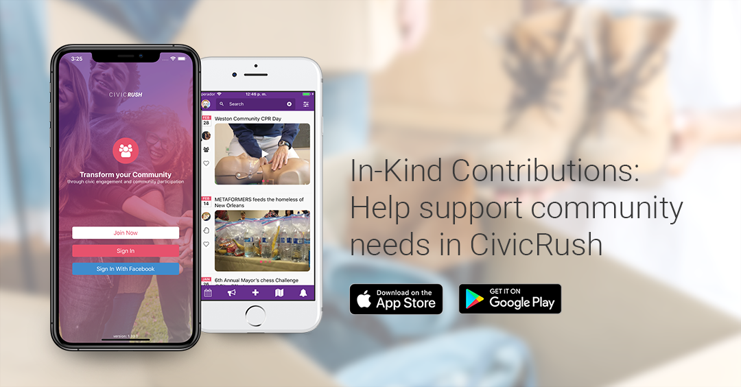 In-Kind Contributions are a great way to help community needs in CivicRush